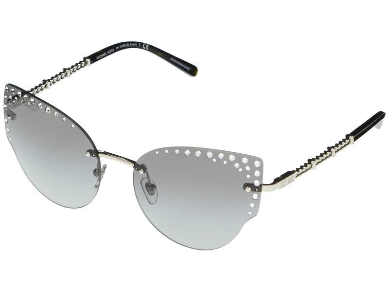 マイケルコース レディース サングラス・アイウェア アクセサリー MK1058B St. Anton Cat Eye Metal Sunglasses 57mm Silver
