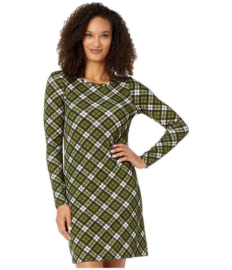 マイケルコース レディース ワンピース トップス Bias Plaid Long Sleeve Dress Evergreen