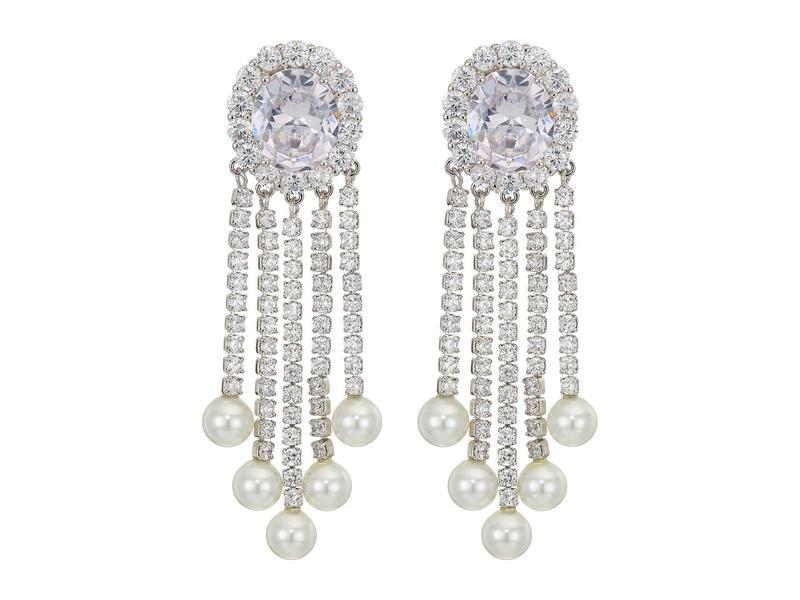 ニナ レディース ピアス・イヤリング アクセサリー Pearl & CZ Fringe Clip Earrings Rhodium/White C