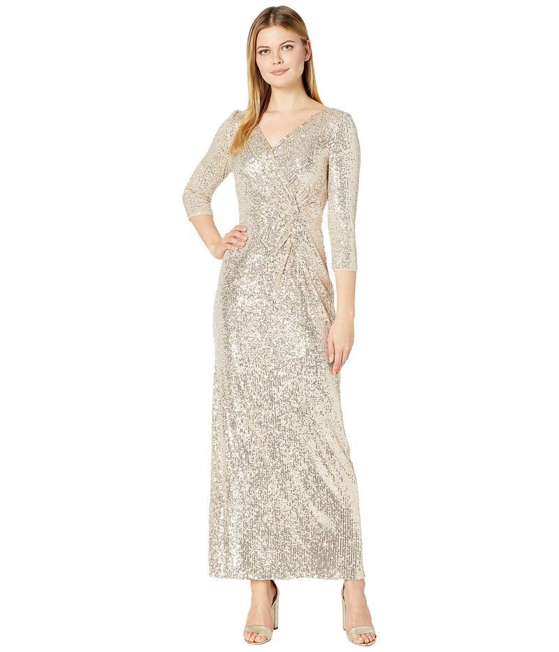 アレックスイブニングス レディース ワンピース トップス Long Sequin Column Dress with Knot Front Detail Taupe