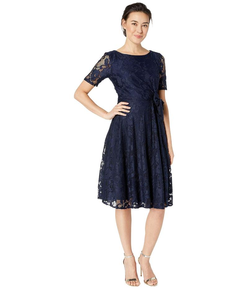 タハリ レディース ワンピース トップス Petite Elbow Sleeve Stretch Lace Dress w/ Side Shirring Navy