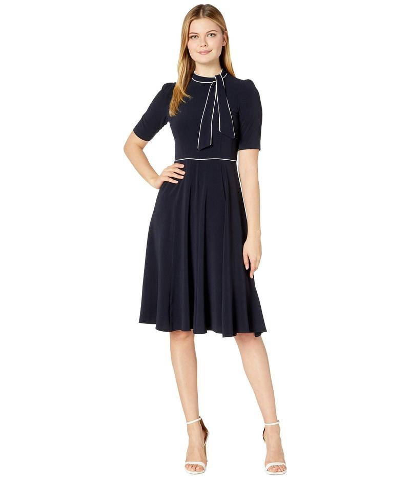 ドナモーガン レディース ワンピース トップス Short Sleeve Lightweight Fit-and-Flare Contrast Tie Neck Dress Marine Navy/Ivo