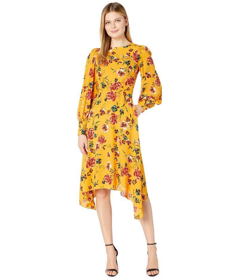 ドナモーガン レディース ワンピース トップス Long Sleeve Georgette Fit-and-Flare with Asymmetrical Hem Dress Marigold Multi