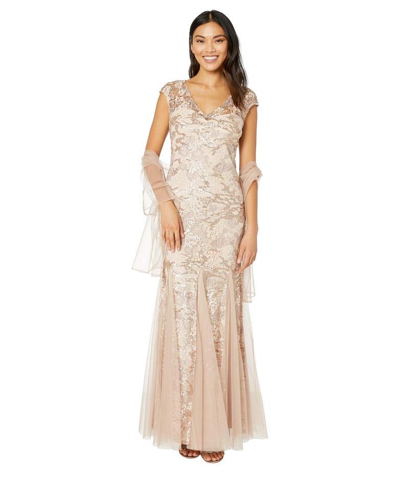 アレックスイブニングス レディース ワンピース トップス Long Embroidered Fit-and-Flare Dress with Godet Detail Skirt and Shawl Rose Gold