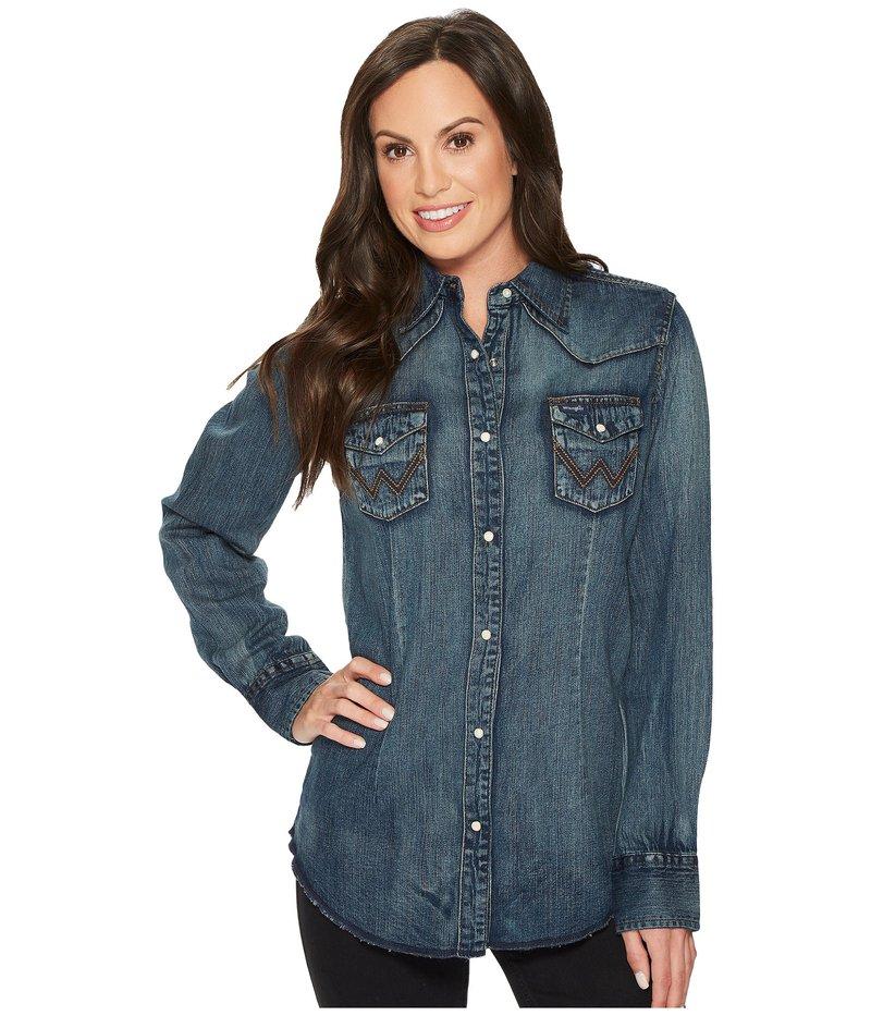 ラングラー レディース シャツ トップス Long Sleeve Snap Western Shirt Denim