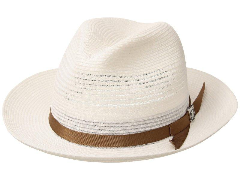 ステイシーアダムス メンズ 帽子 アクセサリー Vented Poly Braid Fedora White