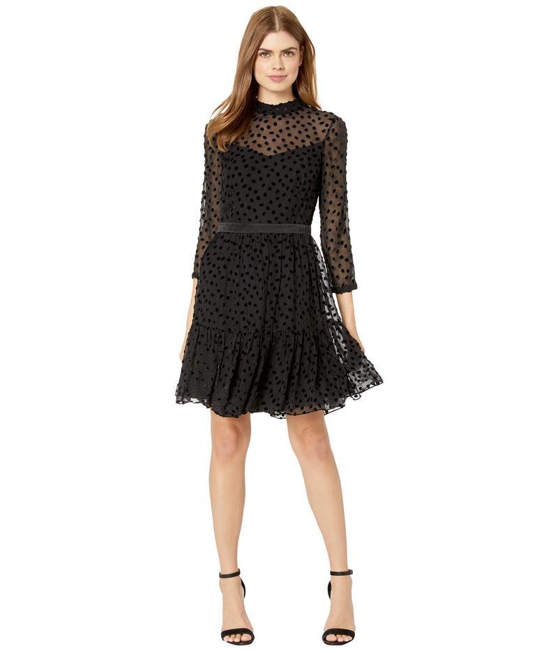 レベッカテイラー レディース ワンピース トップス Long Sleeve Velvet Dot Dress Black