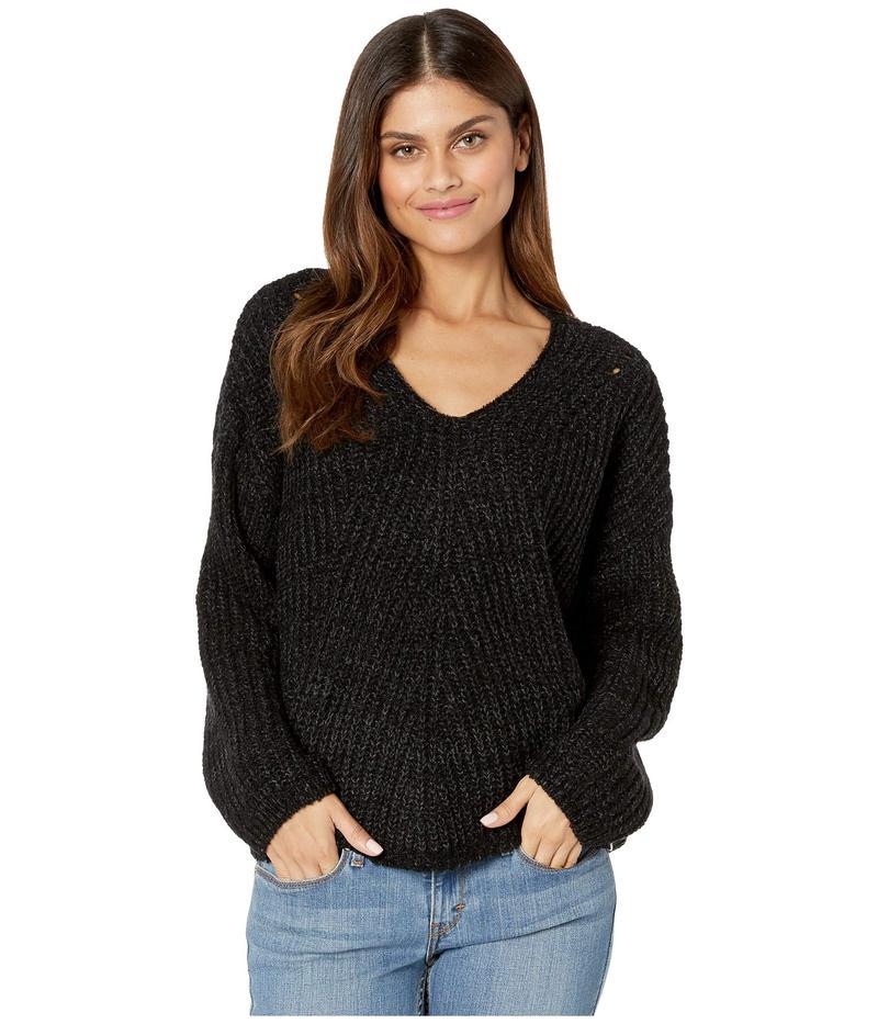 リップカール レディース ニット・セーター アウター Woven V-Neck Sweater Black Heather