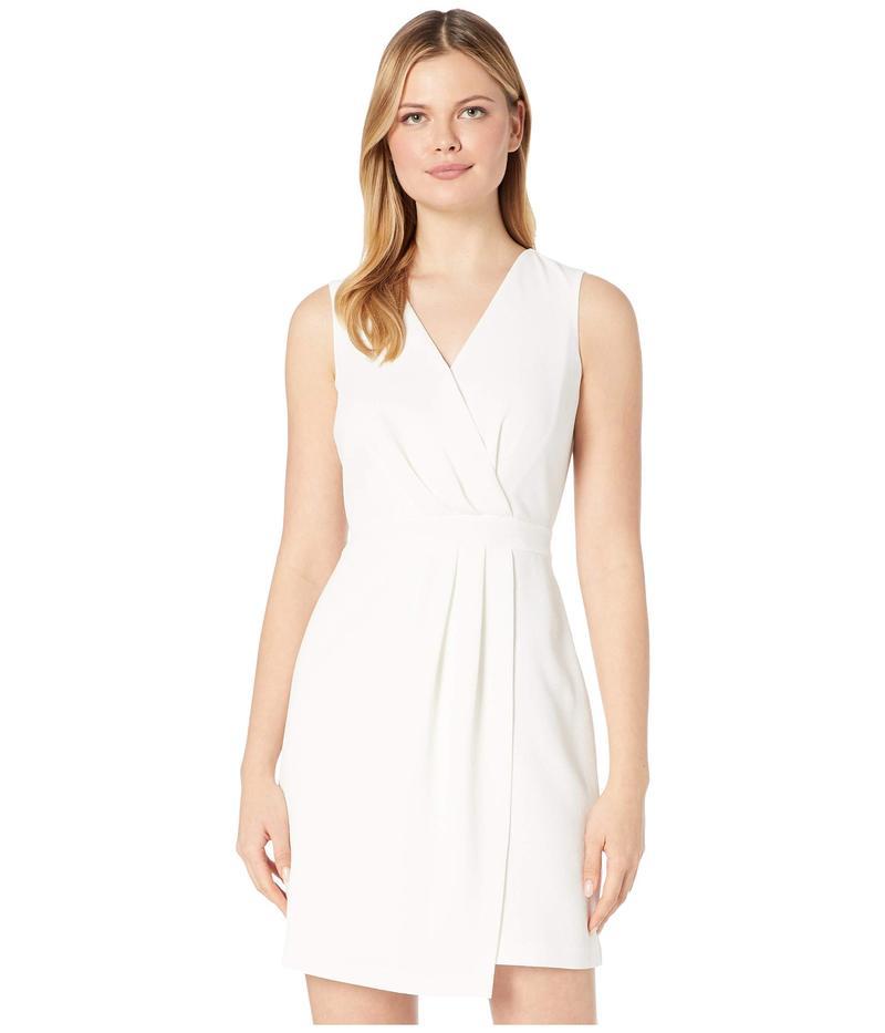 ヴィンスカムート レディース ワンピース トップス Sleeveless Parisian Crepe Pleat Front V-Neck Dress Pearl Ivory