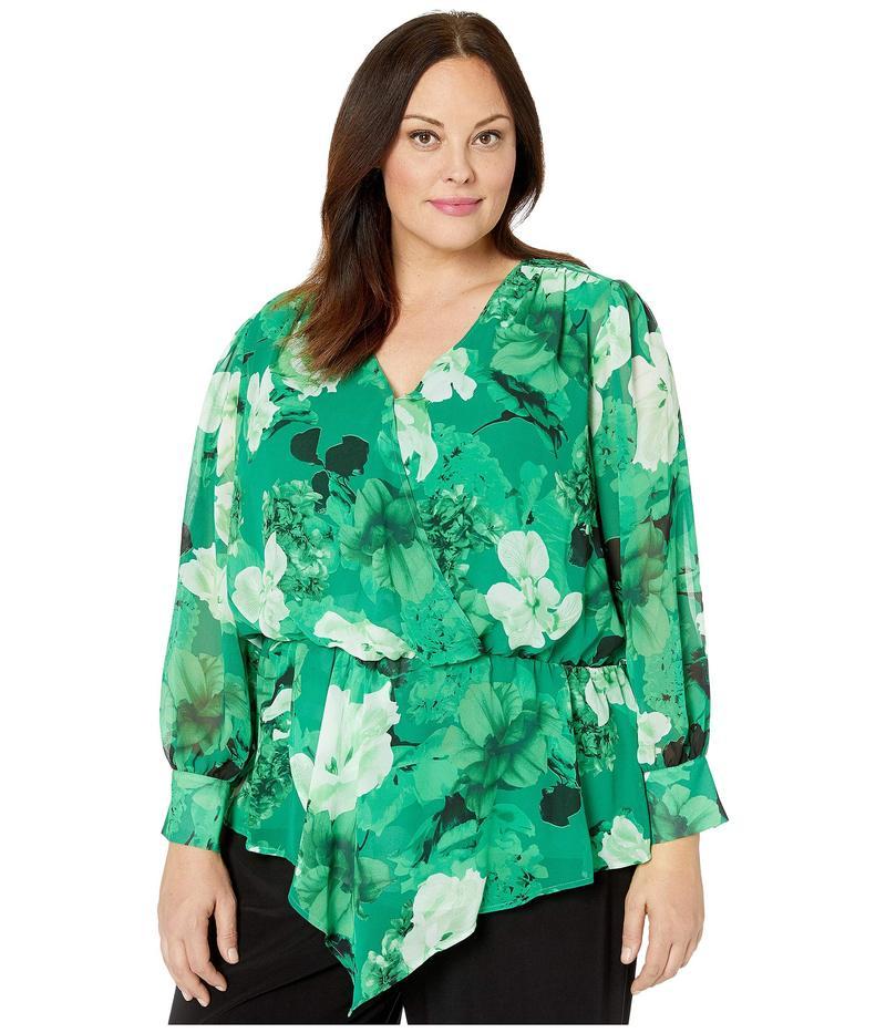 ヴィンス カムート レディース シャツ トップス Plus Size Long Sleeve Asymmetrical Peplum Cinch Waist Floral Blouse Deep Emerald