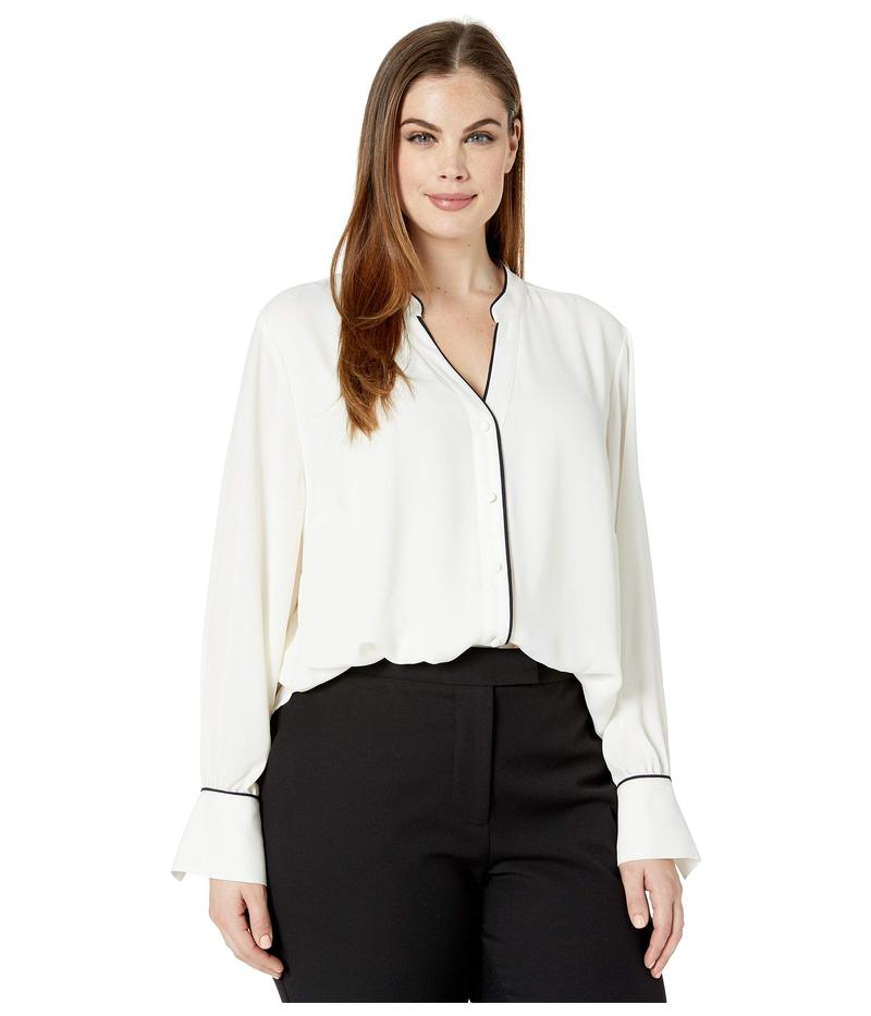 ヴィンス カムート レディース シャツ トップス Plus Size Long Sleeve Button-Down Color Blocked Blouse Pearl Ivory