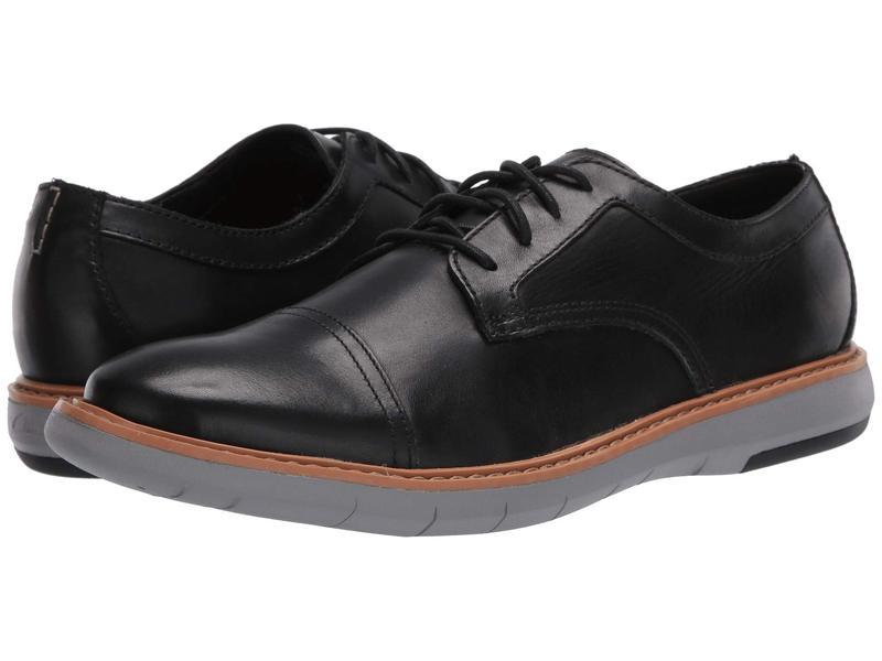 クラークス メンズ オックスフォード シューズ Draper Cap Black Leather/G