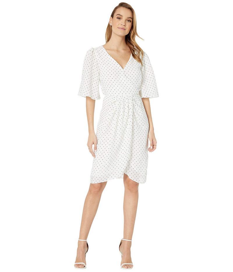 カップケーキアンドカシミア レディース ワンピース トップス Estrella Polka Dot Crinkle Chiffon Dress w/ Wrap Front Ivory
