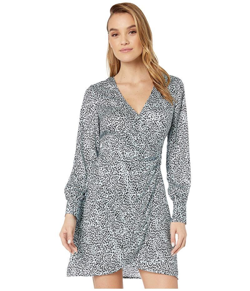 カップケーキアンドカシミア レディース ワンピース トップス Virgo 'Leopard Spots' Soft Satin Wrap Dress Blue Fog