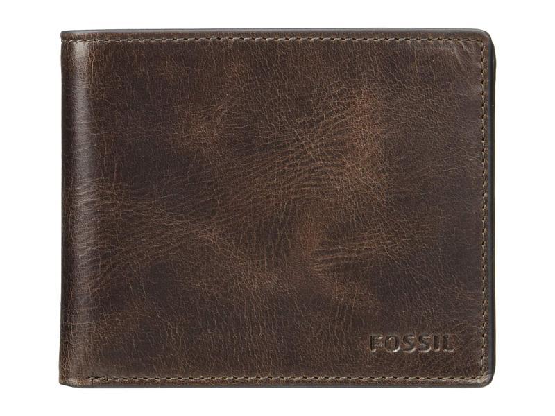 フォッシル メンズ 財布 アクセサリー Derrick Large Coin Pocket Bifold Dark Brown