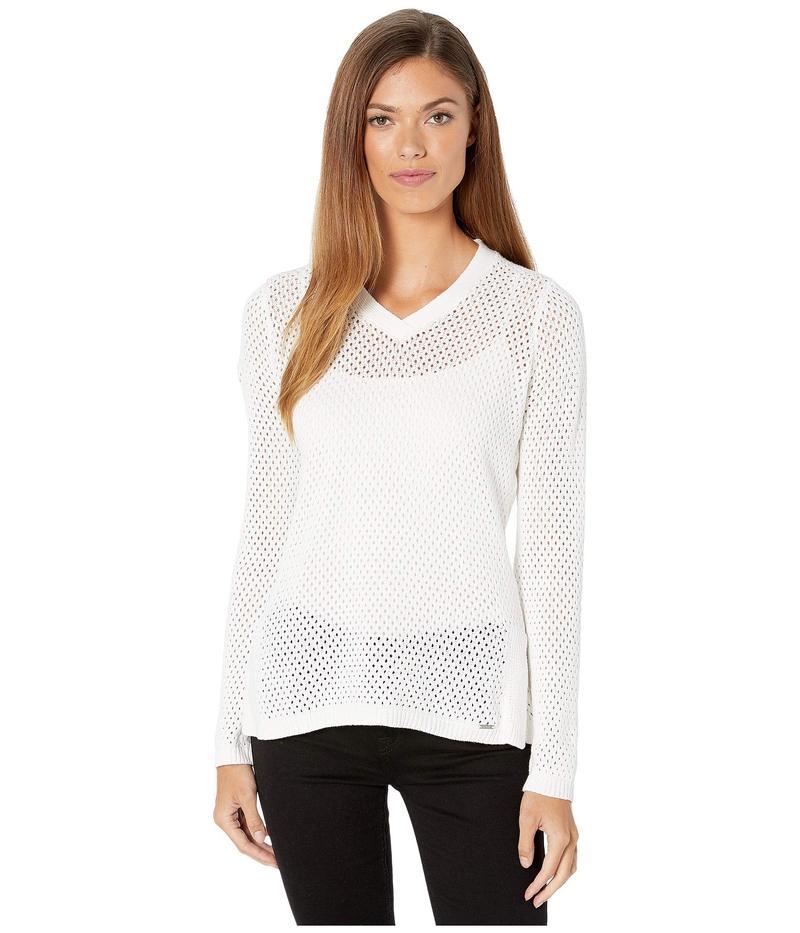 FDJフレンチドレッシングジーンズ レディース ニット・セーター アウター Solid Mesh Stitch V-Neck Long Sleeve Sweater Off-White