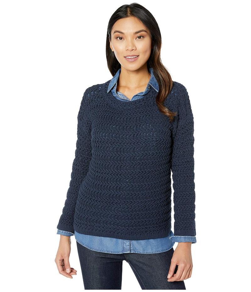エリオットローレン レディース ニット・セーター アウター Stitch Fix Textured Stitch Open Crew Neck Sweater Navy