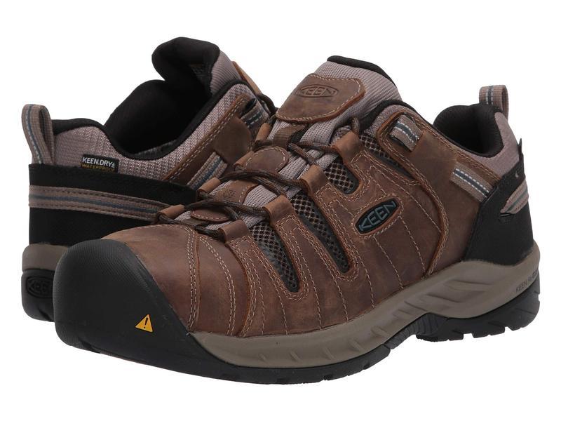 キーン メンズ スニーカー シューズ Flint II Waterproof (Steel Toe) Cascade Brown/O