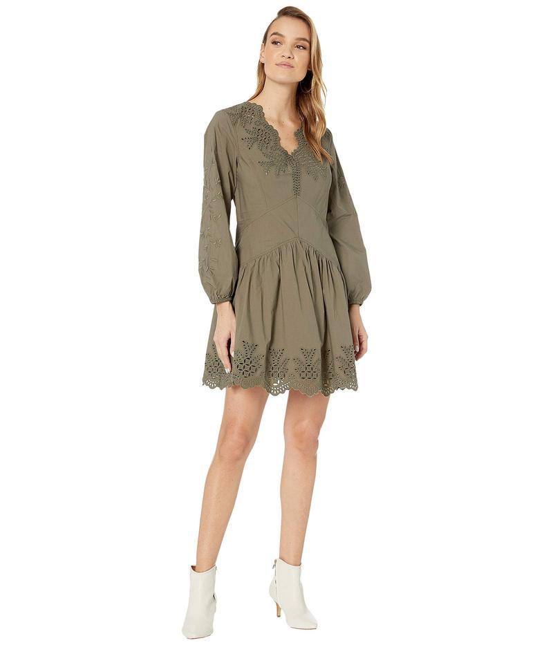 レベッカテイラー レディース ワンピース トップス Long Sleeve Embellished Poplin Dress Sable