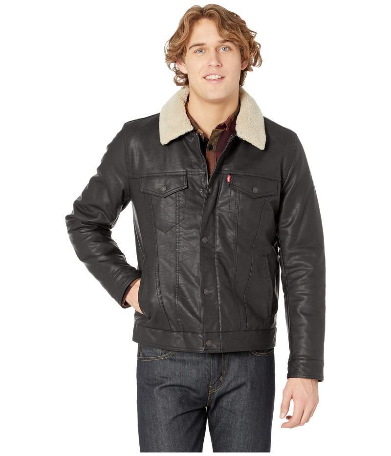 リーバイス メンズ コート アウター Classic Faux Leather Trucker with Removable Sherpa Collar Black