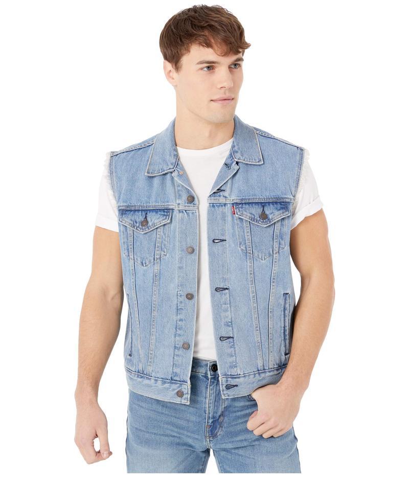 リーバイス メンズ コート アウター Trucker Vest Light Stonewash