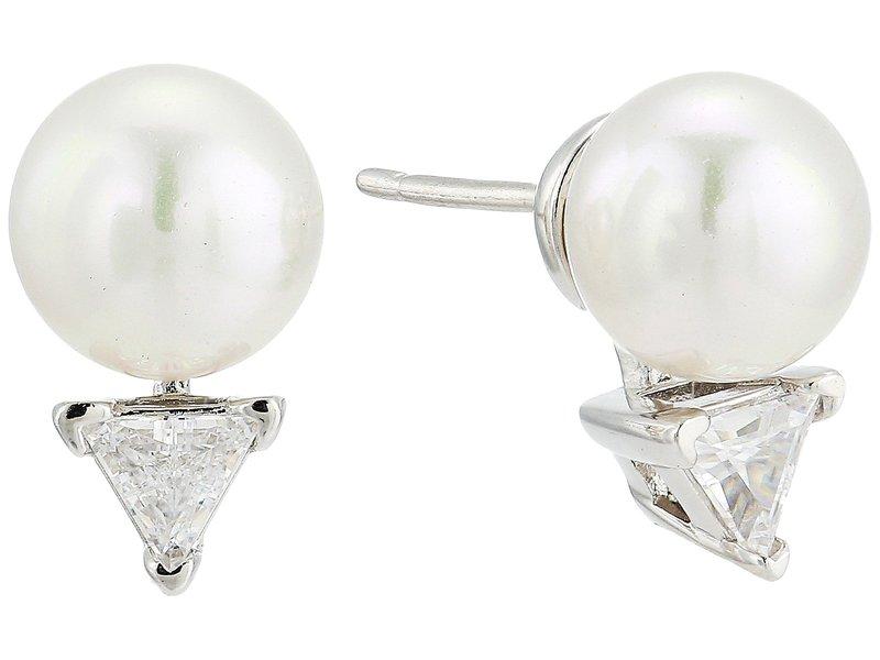 マジョリカ レディース ピアス・イヤリング アクセサリー 8mm Round Pearls Studs with CZ in Sterling Silver Earrings White