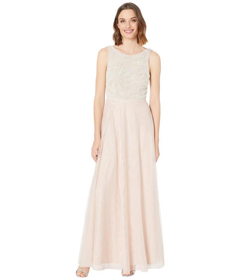 アドリアナ パペル レディース ワンピース トップス Beaded Sleeveless Gown w/ Tulle Skirt Shell