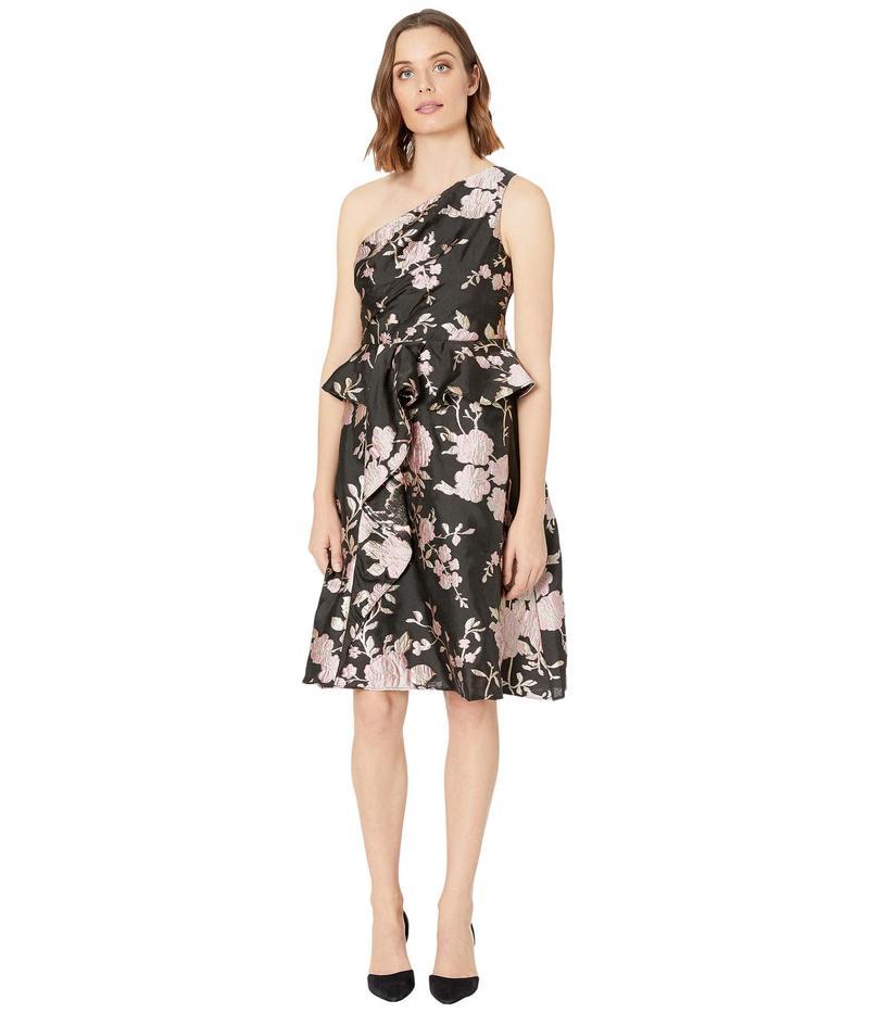 アドリアナ パペル レディース ワンピース トップス One Shoulder Floral Jacquard Cocktail Dress Black/Pink Mult