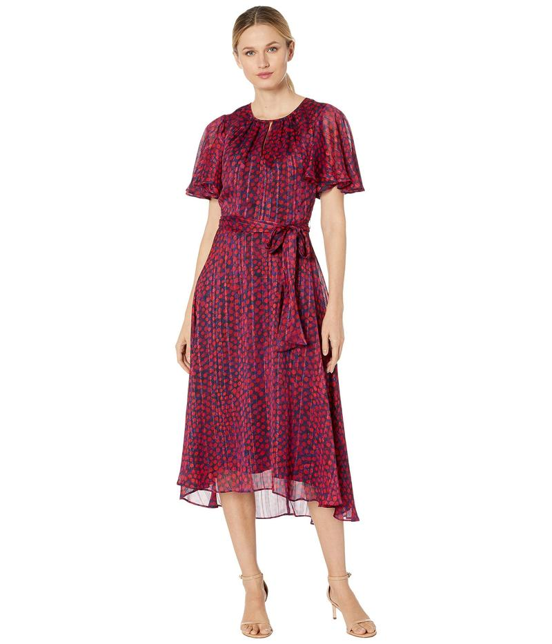 タハリ レディース ワンピース トップス Flutter Sleeve Printed Dot High-Low Hem Dress with Metallic Threadwork Navy Pink Dot