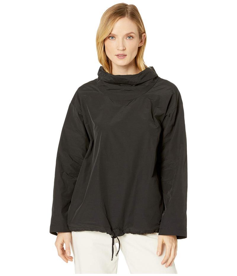 エイリーンフィッシャー レディース コート アウター Light Organic Cotton Nylon Drape Neck Pullover Black