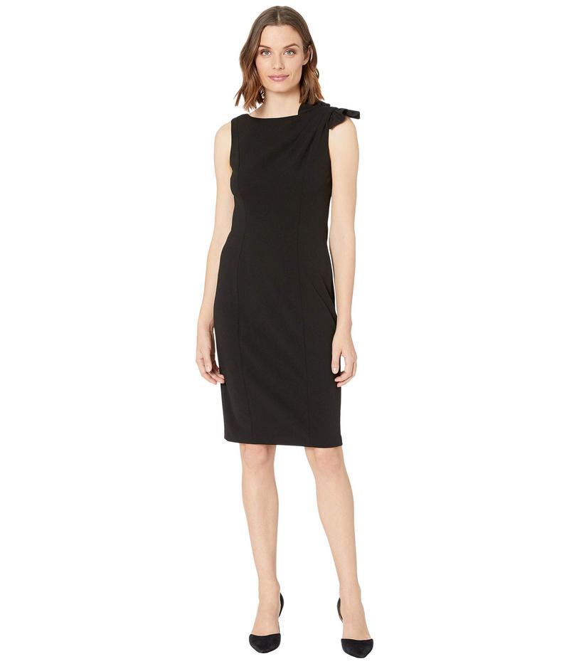 カルバンクライン レディース ワンピース トップス Ruffle Shoulder Knot Detail Sheath Dress Black