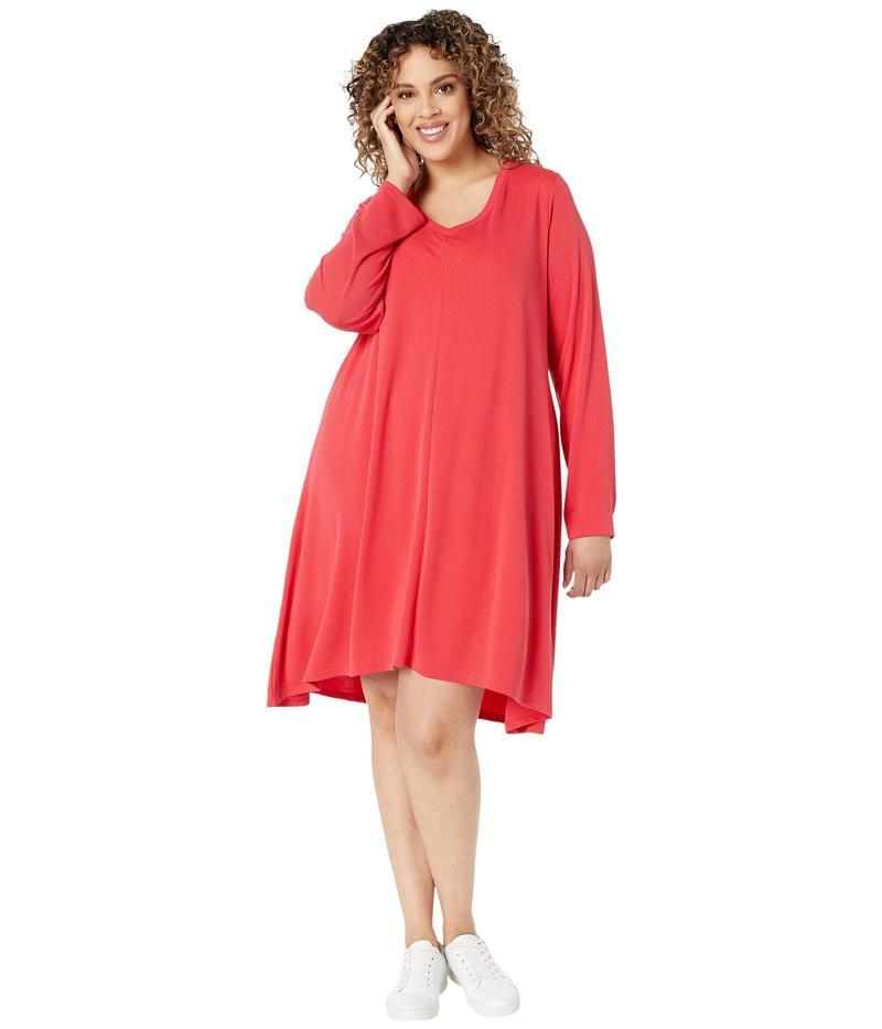 フレッシュプロデュース レディース ワンピース トップス Plus Size Jetsetter Dress in Stretchy Modal Rib Vibrant Poppy