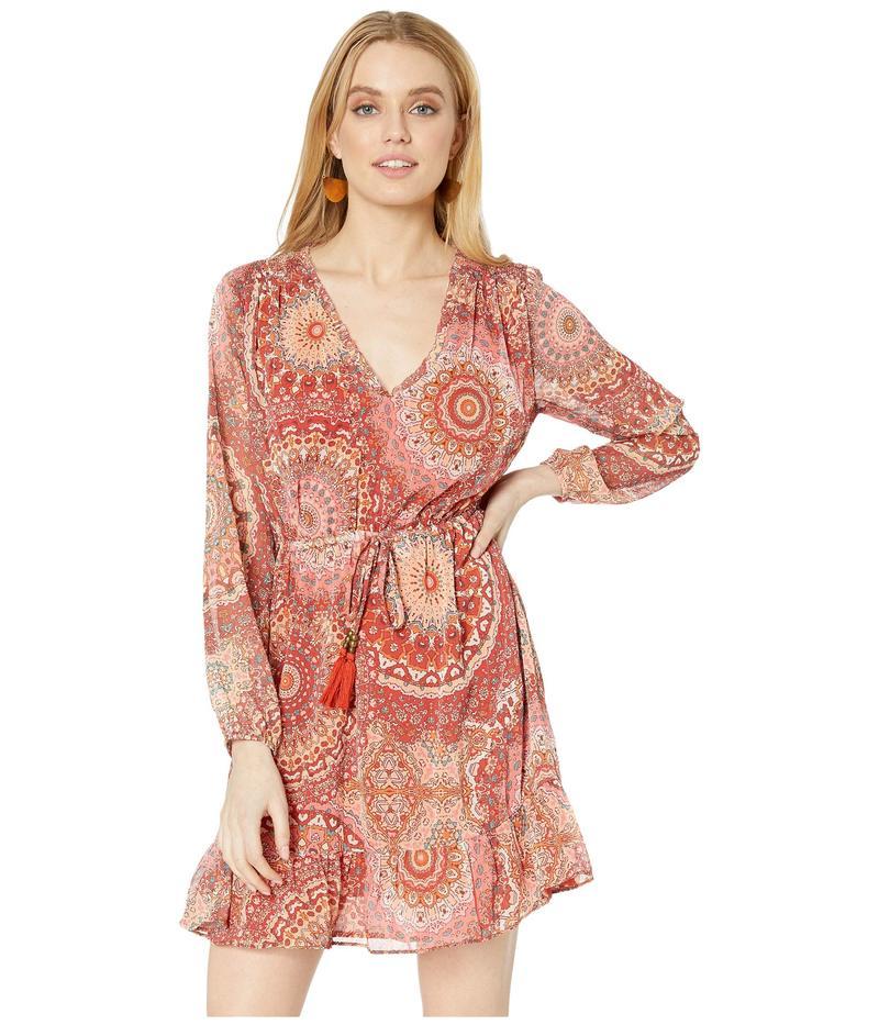ミスミー レディース ワンピース トップス Paisley Print Long Sleeve Dress Cherry Red