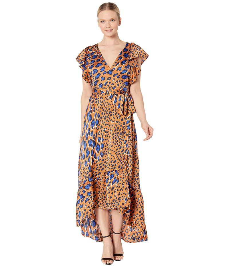 アメリカンローズ レディース ワンピース トップス Lydia Leopard Print Short Sleeve Wrap Dress Brown/Royal