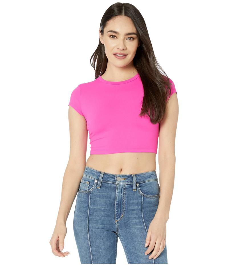 スサナモナコ レディース シャツ トップス Crop Crew Short Sleeve Tee Pink Glo