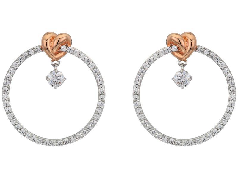スワロフスキー レディース ピアス・イヤリング アクセサリー Lifelong Heart Hoop Pierced Earrings CZ White