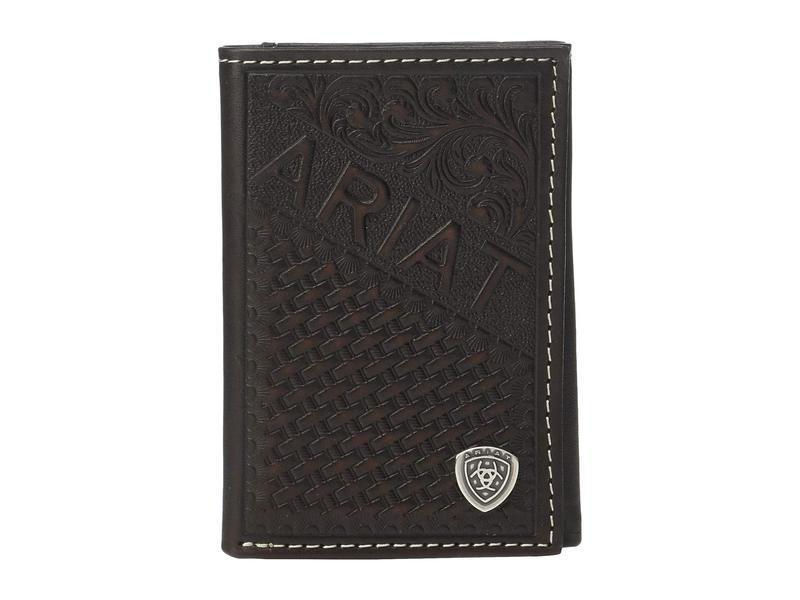 アリアト メンズ 財布 アクセサリー Embossed Trifold Wallet w/ Ariat Shield Tan