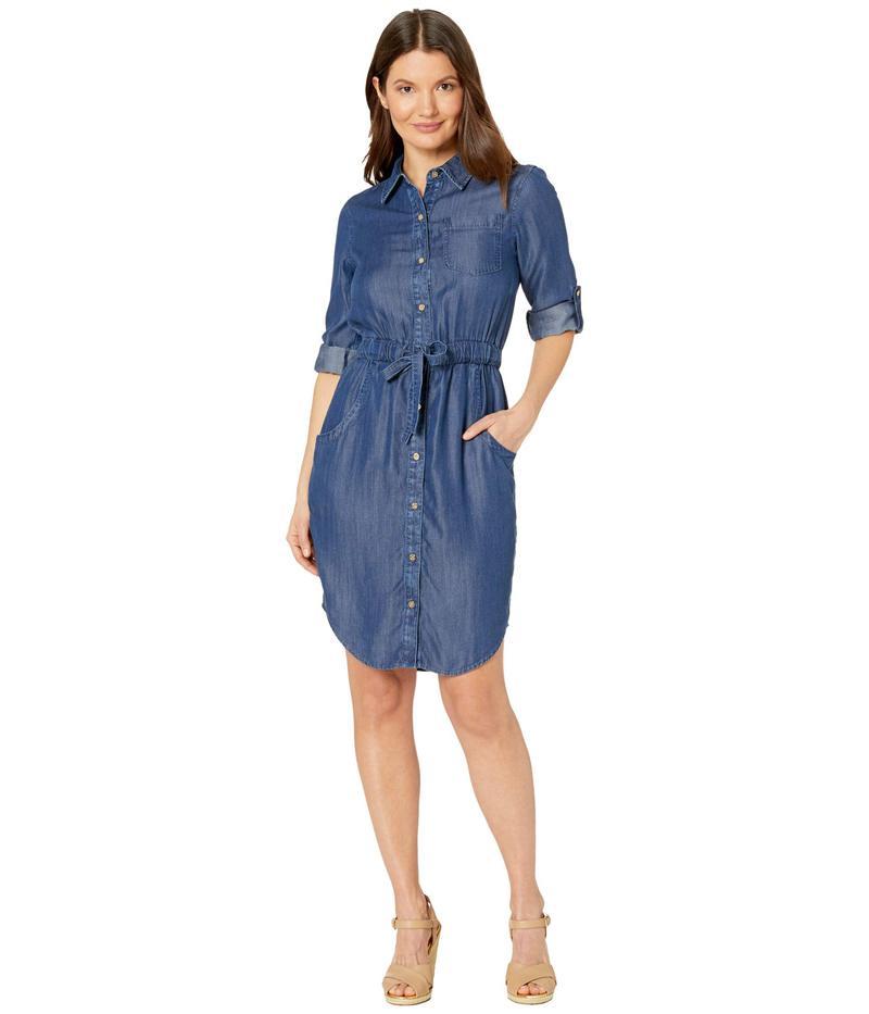 カルバンクライン レディース ワンピース トップス Tencel Denim Shirtdress with Elastic Waist Blue