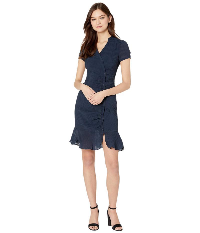 カップケーキアンドカシミア レディース ワンピース トップス Marlyn Asymmetrical Rayon Crinkle Stripe Shirtdress Night Sky