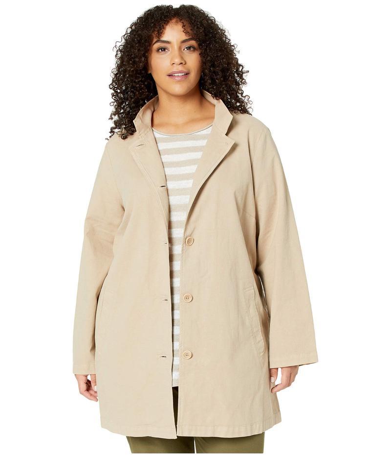 エイリーンフィッシャー レディース コート アウター Plus Size Organic Cotton Hemp Stretch Stand Collar Jacket Khaki