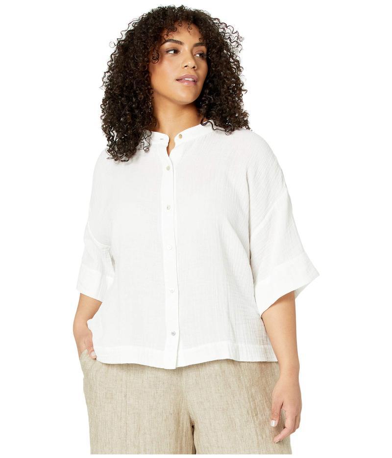エイリーンフィッシャー レディース シャツ トップス Plus Size Organic Cotton Lofty Gauze Mandarin Collar Shirt White