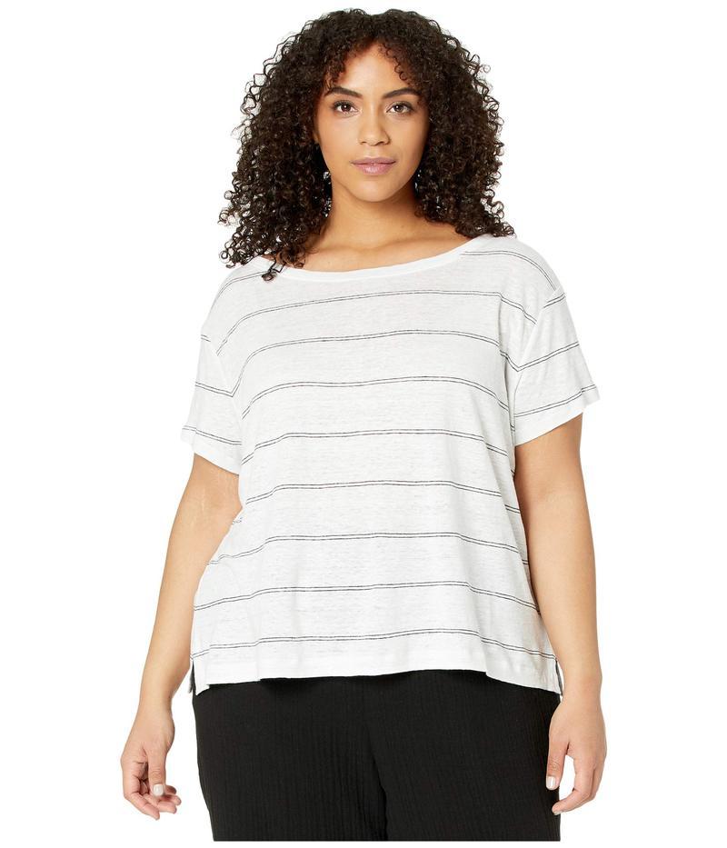 エイリーンフィッシャー レディース シャツ トップス Plus Size Striped Organic Linen Jersey Wide Neck Tee White
