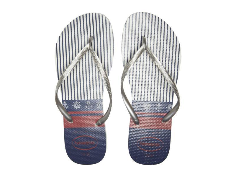 ハワイアナス レディース サンダル シューズ Slim Nautical Flip-Flops White/Silver