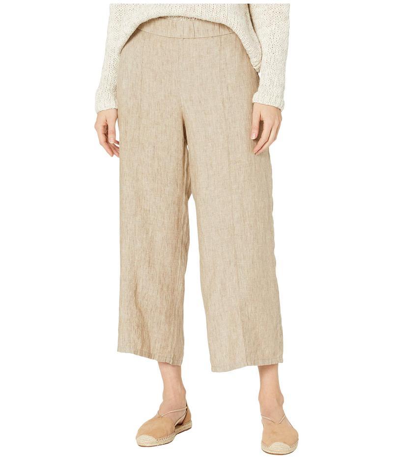 エイリーンフィッシャー レディース カジュアルパンツ ボトムス Washed Organic Linen Delave Pull-On Wide Cropped Pants Khaki