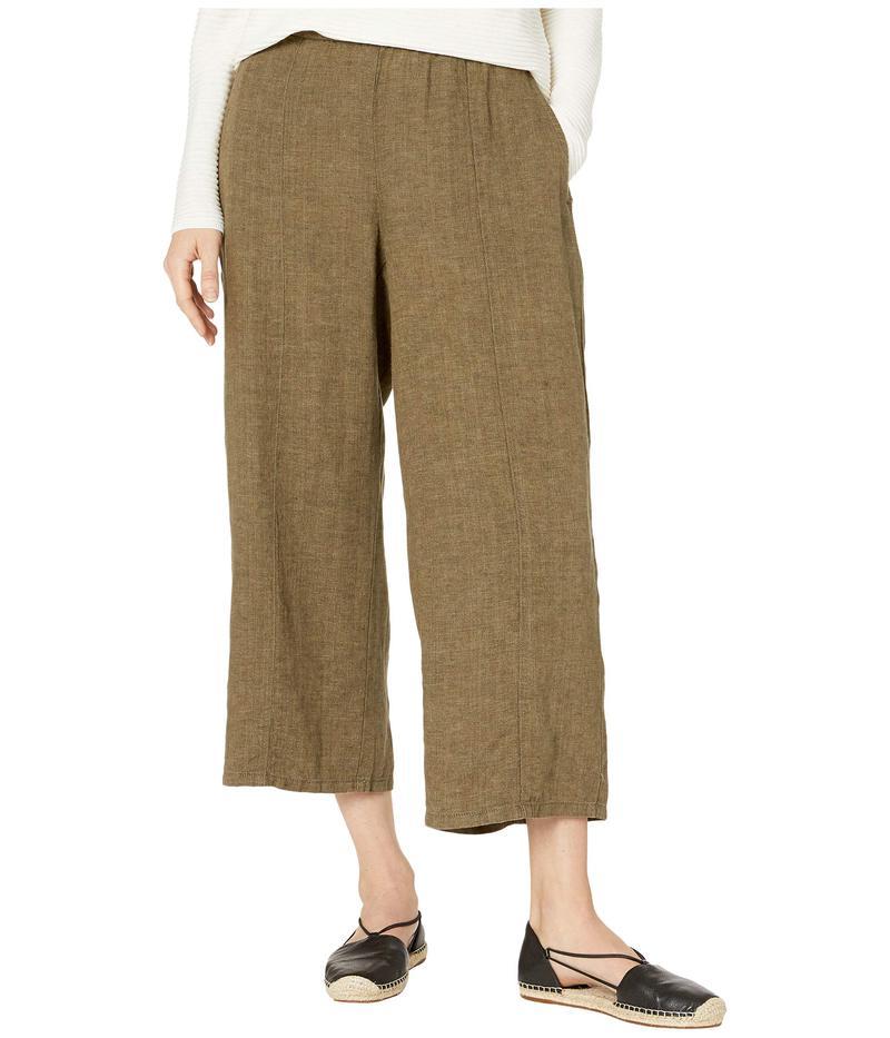 エイリーンフィッシャー レディース カジュアルパンツ ボトムス Washed Organic Linen Delave Pull-On Wide Cropped Pants Olive