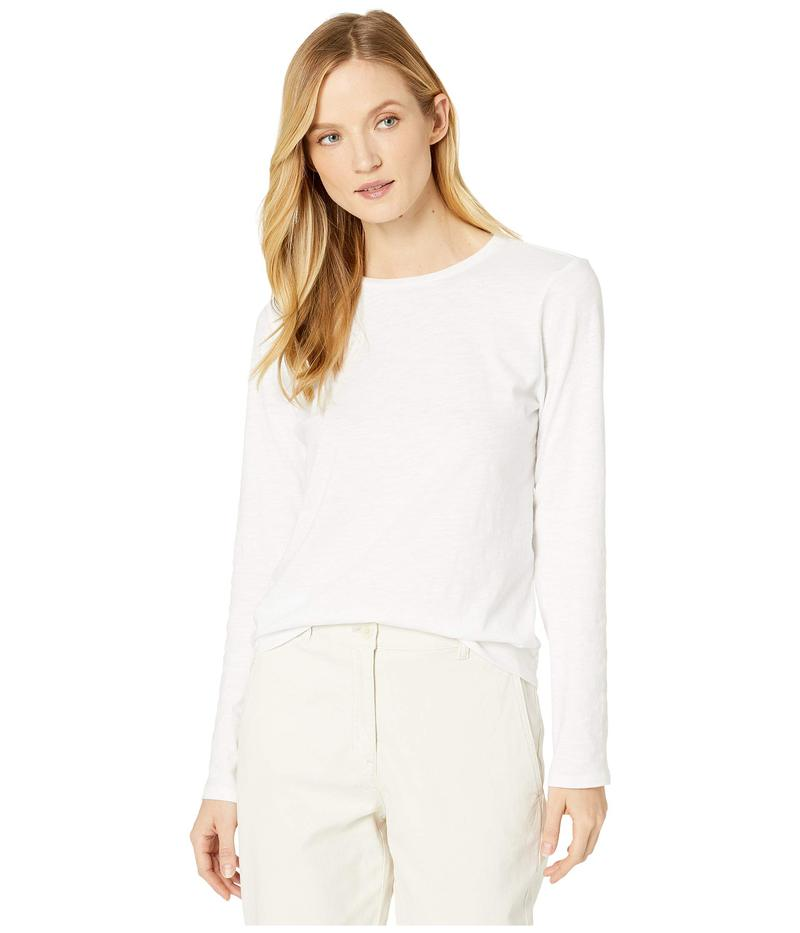エイリーンフィッシャー レディース シャツ トップス Slubby Organic Cotton Jersey Round Neck Long Sleeve Top White