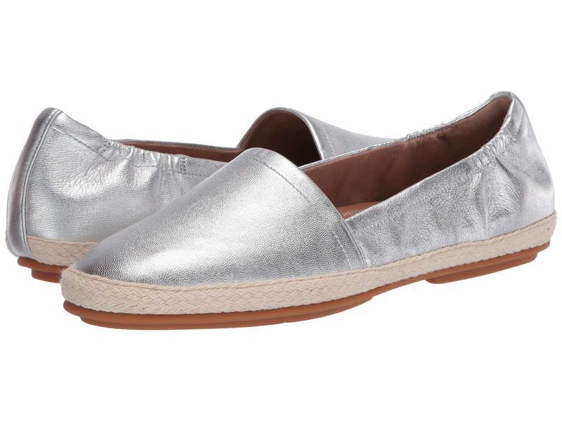 フィットフロップ レディース スリッポン・ローファー シューズ Siren Leather Espadrilles Silver