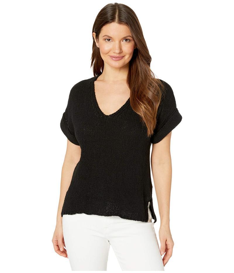 リラピー レディース ニット・セーター アウター Easy V-Neck Cotton Slub Sweater Black