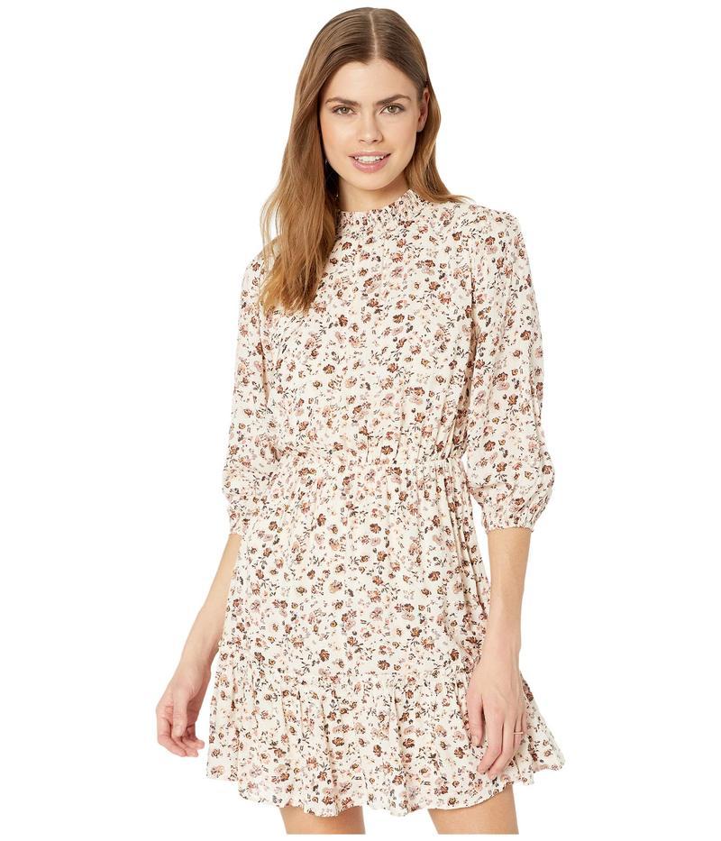 アメリカンローズ レディース ワンピース トップス Eden Mock Neck 3/4 Sleeve Floral Dress Ivory/Mauve