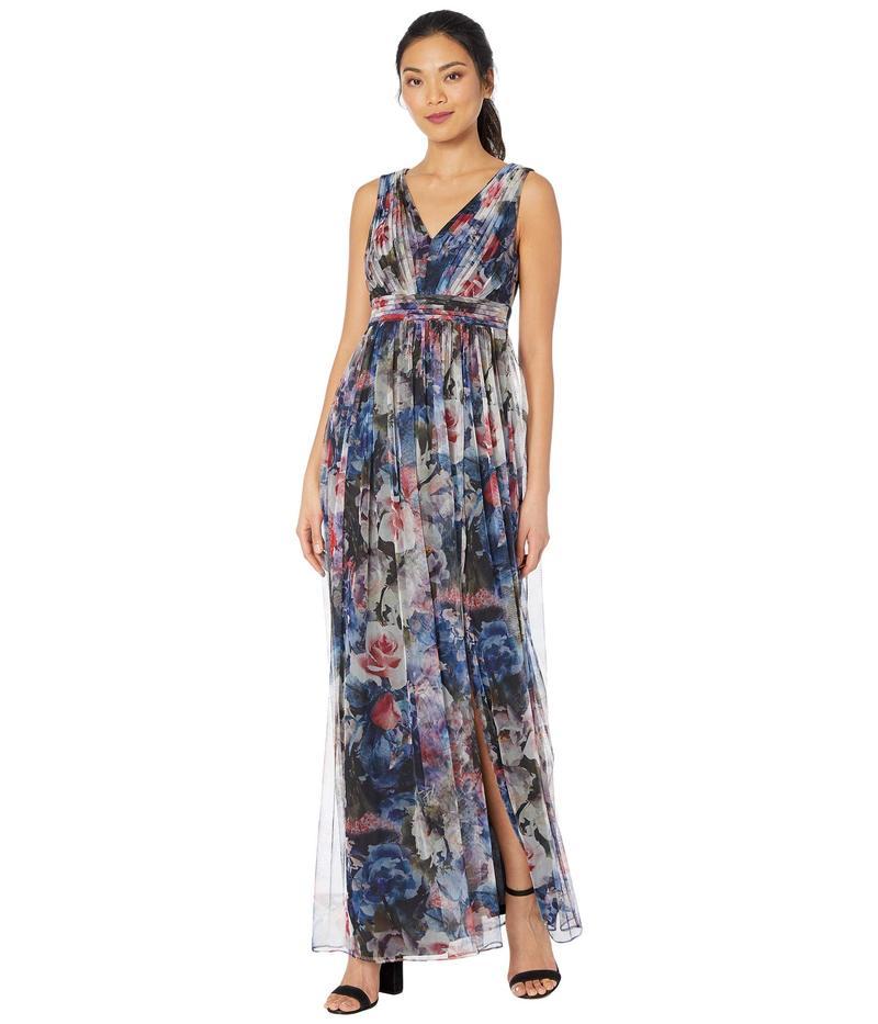 アドリアナ パペル レディース ワンピース トップス V-Neck Floral Tulle Ball Gown Red/Blue Multi
